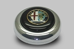 Nardi Center Ring and Horn Button - Anni '50 / '60 - Polished Center Piece - Black Horn Button with Alfa Romeo Logo - Part # 4041.01.0211 [Alfa Romeo]