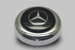 Nardi Center Ring and Horn Button - Anni '50 / '60 - Polished Center Piece - Black Horn Button with Mercedes Logo - Part # 4041.01.0212 [Mercedes]