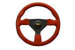 Personal Steering Wheel - Grinta - 330mm (12.99 inches) - Red Suede with Yellow Stitching - Black Spokes - Part # 6430.33.2093