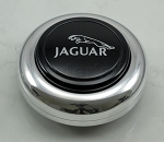 Nardi Center Ring and Horn Button - Anni '50 / '60 - Polished Center Piece - Black Horn Button with Jaguar Logo - Part # 4041.01.0212 [Jaguar]