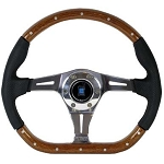 Nardi Steering Wheel - Kallista - 350mm (13.78 inches) - Wood / Black Perforated Leather - Polished Spokes - Part # 5055.35.3000