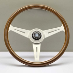 Nardi Steering Wheel - Classic Wood - 360mm (14.17 inches) - Mahogany Wood with White Spokes - Part # 5061.36.1000