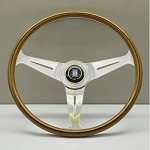 Nardi Steering Wheel - Classic Wood - 390mm (15.35 inches) - 21mm Grip - Mahogany Wood with Polished Spokes - Part # 5061.38.3000