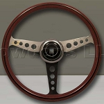 Nardi Steering Wheel - Classic Wood - 360mm (14.17 inches) - Mahogany Wood - Polished Spokes with Round Holes - Anni 60 Horn Button - Part # 5061.36.3200