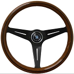 Nardi Steering Wheel - Deep Corn - 350mm (13.78 inches) - Mahogany Wood with Black Spokes - Classic Horn Button - Part # 5069.35.2000