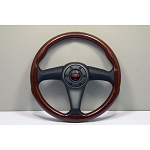 Personal Steering Wheel - Lesmo W - 365mm (14.37 inches) - Mahogany Wood - Anthracite Tinted Center Pad with Black Perforated Leather - Part # 5467.36.1600