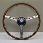 Nardi Steering Wheel - Vintage Replica - 400mm (15.75 inches) - Mahogany Wood with Polished Spokes - Lancia Aurelia - Part # 5805.40.3000