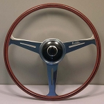 Nardi Steering Wheel - Vintage Replica - 420mm (16.54 inches) - Mahogany Wood with Polished Spokes - Porche 356 B & C - Part # 5814.42.3000