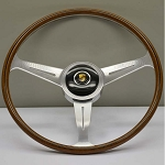 Nardi Steering Wheel - Vintage Replica - 420mm (16.54 inches) - Mahogany Wood with Polished Spokes - Porche 356 B & C - Part # 5815.42.3000