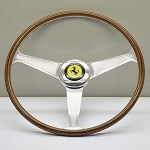 Nardi Steering Wheel - Vintage Replica for Ferrari (1959-1965) - 420mm (16.54 inches) - Mahogany Wood - Polished Spokes with