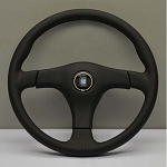 Nardi Steering Wheel - Gara 3/3 - 365mm (14.37 inches) - Black Leather with Black Leather Center Pad - Part # 6021.36.2171
