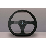 Nardi Steering Wheel - Gara Sport - 350mm (13.78 inches) - Black Perforated Leather with Red Stitching - Black Spokes - Part # 6040.35.2092