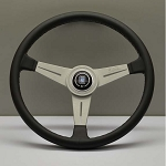 Nardi Steering Wheel - Classic Leather - 390mm (15.35 inches) - Black Leather with Grey Stitching - Silver Spokes - Part # 6061.39.1001