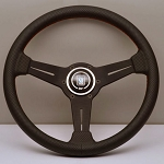 Nardi Steering Wheel - Classic Leather - 360mm (14.17 inches) - Black Perforated Leather with Red Stitching - Black Spokes - Classic Horn Button - Part # 6062.36.2092