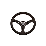 Nardi Steering Wheel - Deep Corn - 330mm (12.99 inches) - Black Perforated Leather with Red Stitching - Black Spokes - Classic Horn Button - Part # 6069.33.2093