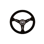 Nardi Steering Wheel - Deep Corn - 330mm (12.99 inches) - Black Suede Leather with Red Stitching - Black Spokes - Classic Horn Button - Part # 6069.33.2094