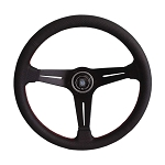 Nardi Steering Wheel - Deep Corn 350mm (13.78 inches) - Quad Sectioned Black Perforated Leather with Red Stitching + Black Spokes - Part # 6069.35.2073