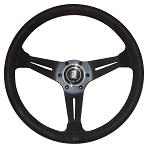 Nardi Steering Wheel - Deep Corn - 350mm (13.78 inches) - Black Suede Leather with Red Stitching - Black Spokes - Classic Horn Button - Part # 6069.35.2094
