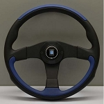 Nardi Steering Wheel - Leader - 350 mm Black/Blue Leather