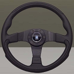 Nardi Steering Wheel - Leader - 350mm (13.78 inches) - Black / Black Perforated Leather - Black Spokes - Part # 6090.35.2092