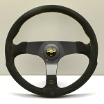 Personal Steering Wheel - Fitti Corsa - 350mm (13.78 inches) - Black Suede Leather with Yellow Stitching - Black Spokes - Yellow Logo Horn Button - Part # 6408.35.2094