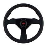 Personal Steering Wheel - Grinta - 330 mm Black Leather with Red Stitching