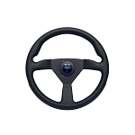 Personal Steering Wheel - Neo Eagle - 350mm (13.78 inches) - Black Leather with Blue Stitching - Black Spokes - Blue Logo Horn Button - Part # 6499.34.2090