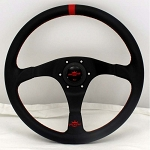 Personal Steering Wheel - Trophy - 350mm (13.78 inches) - Black Leather with Red Stripe and Red Stitching - Black Spokes - Red Logo Horn Button - Part # 6518.35.2072