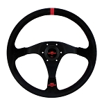Personal Steering Wheel - Trophy - 350mm (13.78 inches) - Black Suede Leather with Red Stripe and Red Stitching - Black Spokes - Red Logo Horn Button - Part # 6518.35.2082