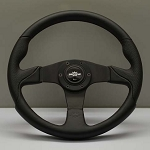 Personal Steering Wheel - Thunder - 350mm (13.78 inches) - Black Leather / Black Perforated Leather - Black Spokes - Part # 6520.35.2071