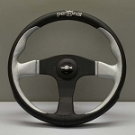 Personal Steering Wheel - Pole Position - 330 mm Black/Inox Silver Leather