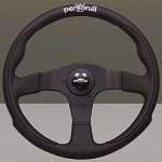 Personal Steering Wheel - Pole Position - 350mm (13.78 inches) - Black Leather / Black Perforated Leather - Black Spokes - Part # 6521.35.2090