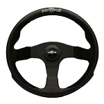 Personal Steering Wheel - Pole Position - 350mm (13.78 inches) - Black Leather / Black Suede Leather - Black Spokes - Part # 6521.35.2091