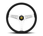 MOMO Heritage Steering Wheel - California - 360mm Black Leather with Polished spokes - Part # CAL36BK2S