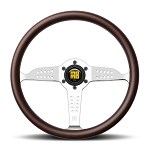 MOMO Heritage Steering Wheel - Super Grand Prix - 350mm (13.78 inches) - Mahogany Wood with Polished Spokes - Part # GRA35WD0P