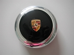 Nardi Center Ring and Horn Button - Anni '50 / '60 - Polished Center Piece - Black Horn Button with Porsche Logo - Part # 4041.01.0212 [Porsche]
