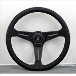 Nardi Steering Wheel - Deep Corn - 350mm (13.78 inches) - Black Leather with Black Stitching - Black Spokes - Classic Horn Button - Part # 6069.35.2191 [NE]