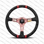 MOMO Street Steering Wheel - Ultra - Premium Race Track Microfiber Grip w/ Red Dual Center Stripes and Red MOMO Etched Spokes - Part # ULT35BK0RD