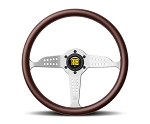 MOMO Heritage Steering Wheel - Grand Prix - 350mm Mahogany Wood with Brushed Aluminum spokes - Part # GRA35WD0B