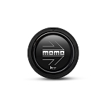 MOMO Replacement Steering Wheel Horn Button - Small (Flush Mount) - Black with Chrome Logo - Part # HORN/SM/BLACK