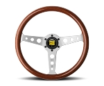 MOMO Heritage Steering Wheel - Indy - 350mm Mahogany Wood with Brushed Aluminum spokes - Part # IND35MA0P