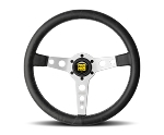 MOMO Heritage Steering Wheel - Prototipo Heritage - 350mm Black Distressed Leather with Brushed Aluminum spokes - Part # PRH35BK0S