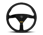 MOMO Steering Wheel - MOD 78 - 350mm (13.78 inches) - Black Suede Leather - Black Spokes - Part # R1909/35S