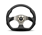 MOMO Street Steering Wheel - Eagle - 350mm Black Leather w/ Black Airlether Insert and Brushed Anthracite spokes - Part # EAG35BK0S