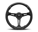 MOMO Street Steering Wheel - Gotham - 350mm Black Leather w/ Black Leather Insert and Brushed Black spokes - Part # GOT35BK0B