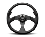 MOMO Street Steering Wheel - Jet - 350mm Black Airleather w/ Black Leather and Carbon Fiber Insert and Brushed Black spokes - Part # JET35BK0B