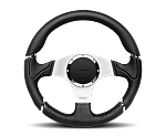 MOMO Street Steering Wheel - Millenium - 350mm Black Leather w/ Black Airleather Insert and Brushed Aluminum spokes - Part # MIL35BK1P