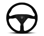 MOMO Street Steering Wheel - Montecarlo Alcantara - 350mm Black Alcantara with Brushed Black spokes - Part # MCL35AL1B
