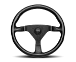 MOMO Street Steering Wheel - Montecarlo - 350mm Black Leather with Red stitching and Brushed Black spokes - Part # MCL35BK3B