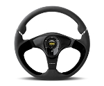MOMO Street Steering Wheel - Nero - 350mm Black Leather w/ Black Suede Insert and Brushed Black spokes - Part # NER35BK0B